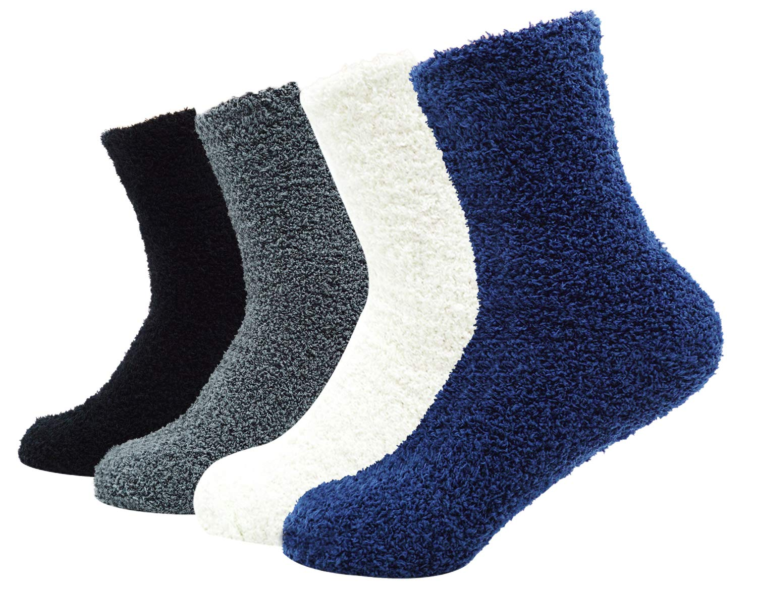 Unisex Fuzzy Microfiber Socks 4 Pack Thick Warm Comfort Crew Fashion Socks, Style 1