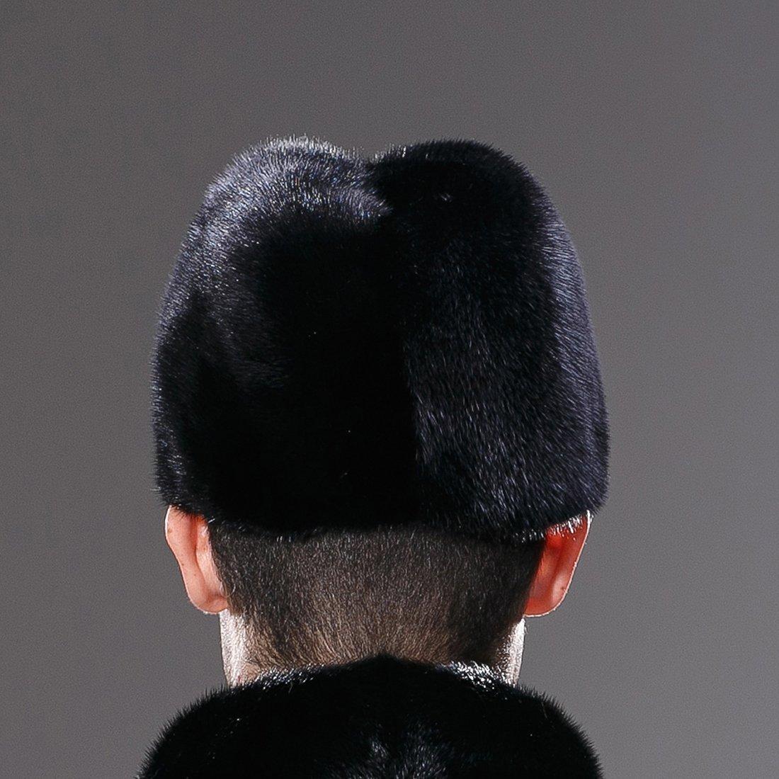 URSFUR Mens Winter Russian Cossack Hat Real Mink Fur Cap Black by URSFUR (Image #6)