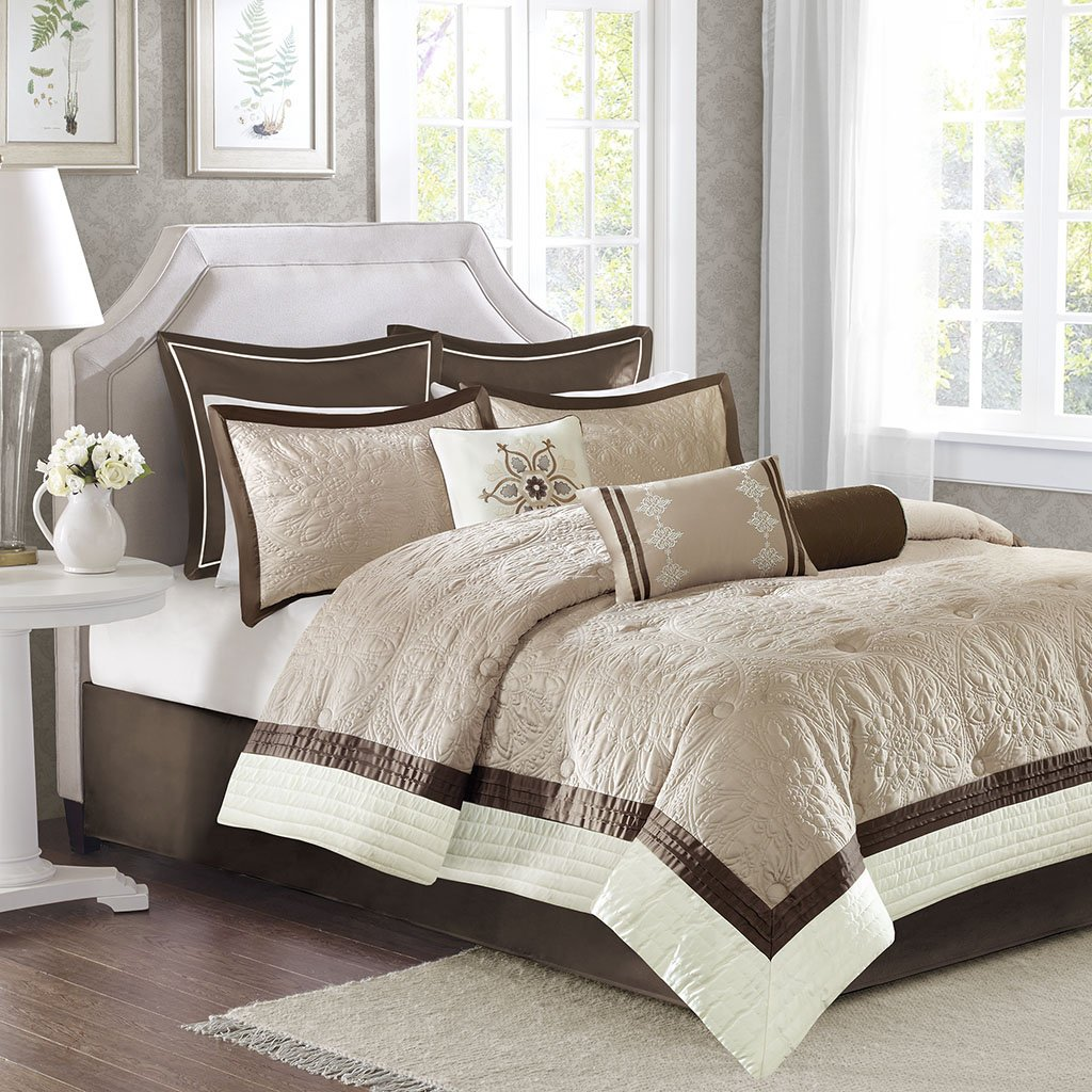 Madison Park MP10-2828 Juliana 9 Piece Charmeuse Comforter Set, Beige