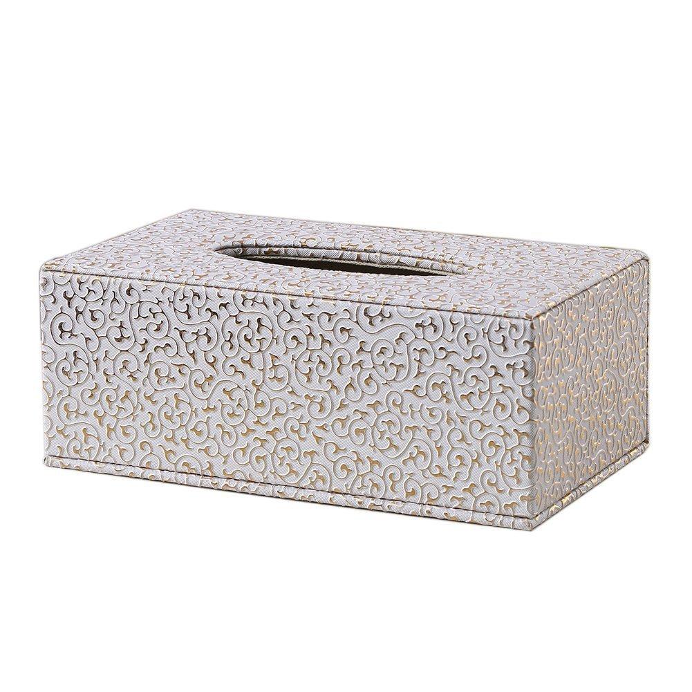 JUNGEN Piel tejido caja de pañuelos de decoración para hogar oficina y coche, Golden, 25.5*14*9.5cm: Amazon.es: Hogar