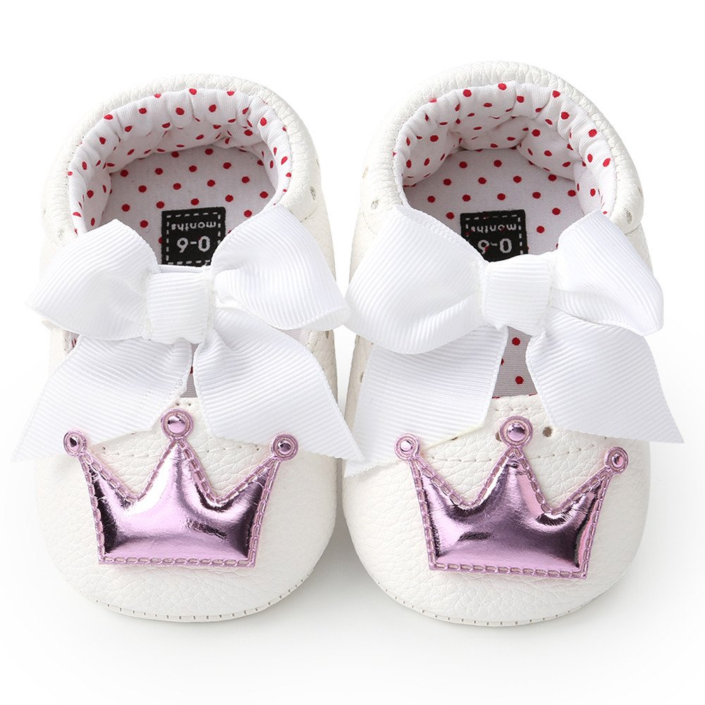 Lurryly Newborn Infant Baby Girl Crown Princess Shoes Soft Sole Anti-Slip Sneakers
