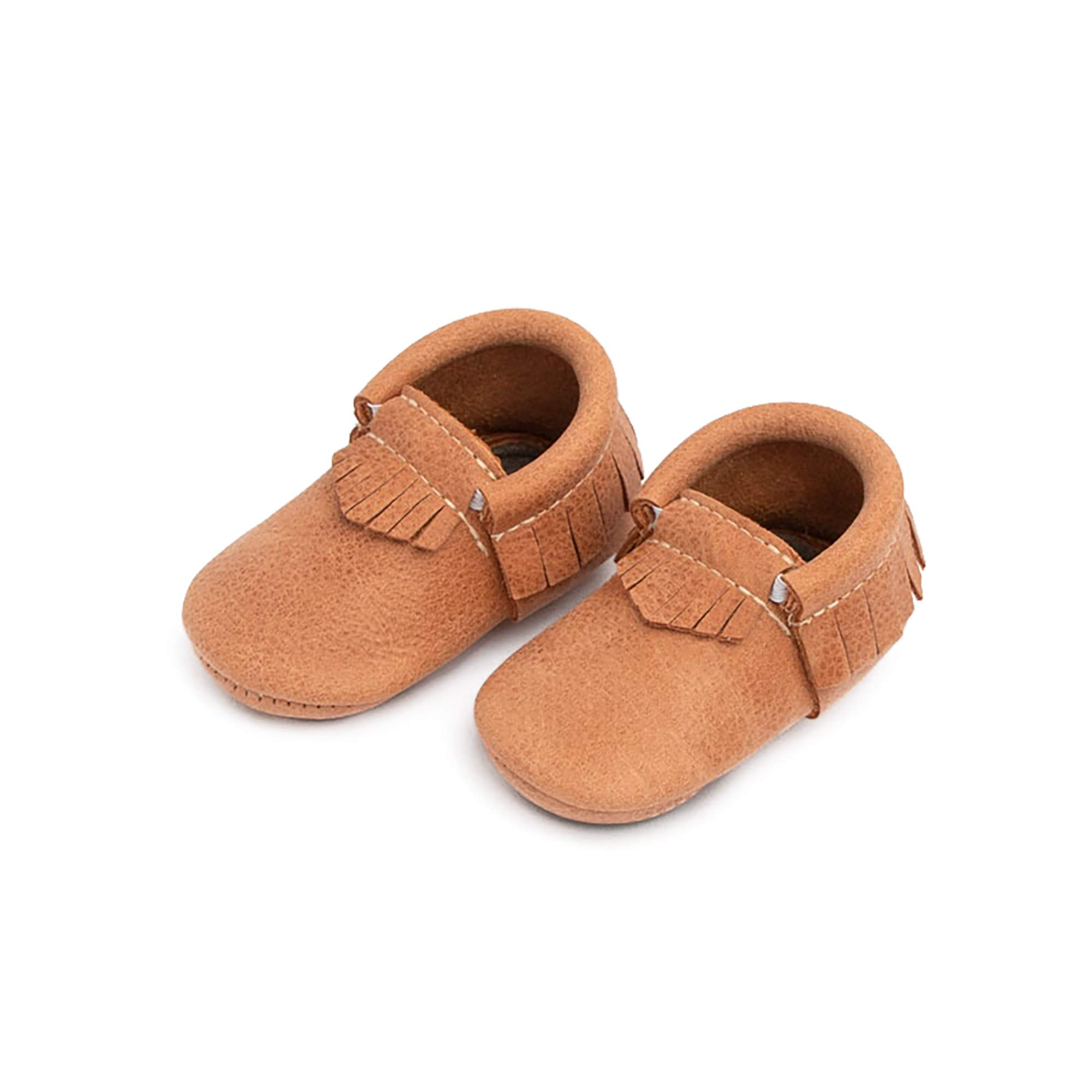 Freshly Picked - Rubber Mini Sole Leather Moccasins - Toddler Girl Boy Shoes - Size 3 Zion Tan by Freshly Picked