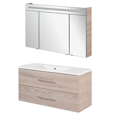 Badmöbel Set 40 cm Waschbeckenunterschrank Graphit Waschtisch mit Unterschrank