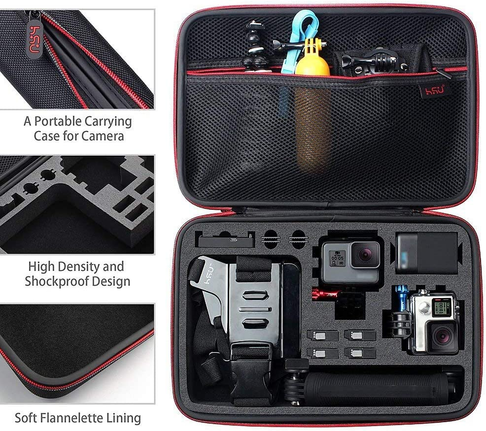 Green Logo 3 Hero 8 3+ Portable and Shock 7 Black,HERO6,5,4 Black Large Carrying Case for GoPro Hero LCD 2 and Accessories by HSU with Carry Handle and Carabiner Loop 2018
