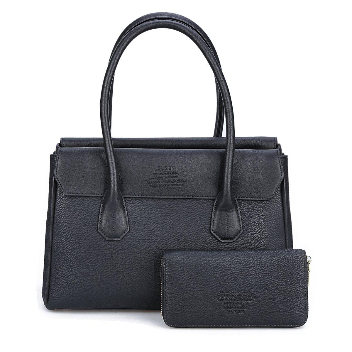 Maletín con carteras para señoras, SUSEN Mujeres Bolso Bandolera bolsa de asas del bolso de hombro Top bolsas con asas, Cuero de sintético (Negro): ...