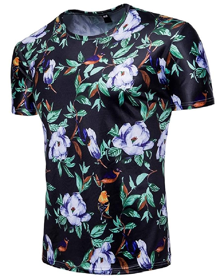 Pandapang Men Plain Tops Crewneck Short Sleeve Printing Beach T-Shirts