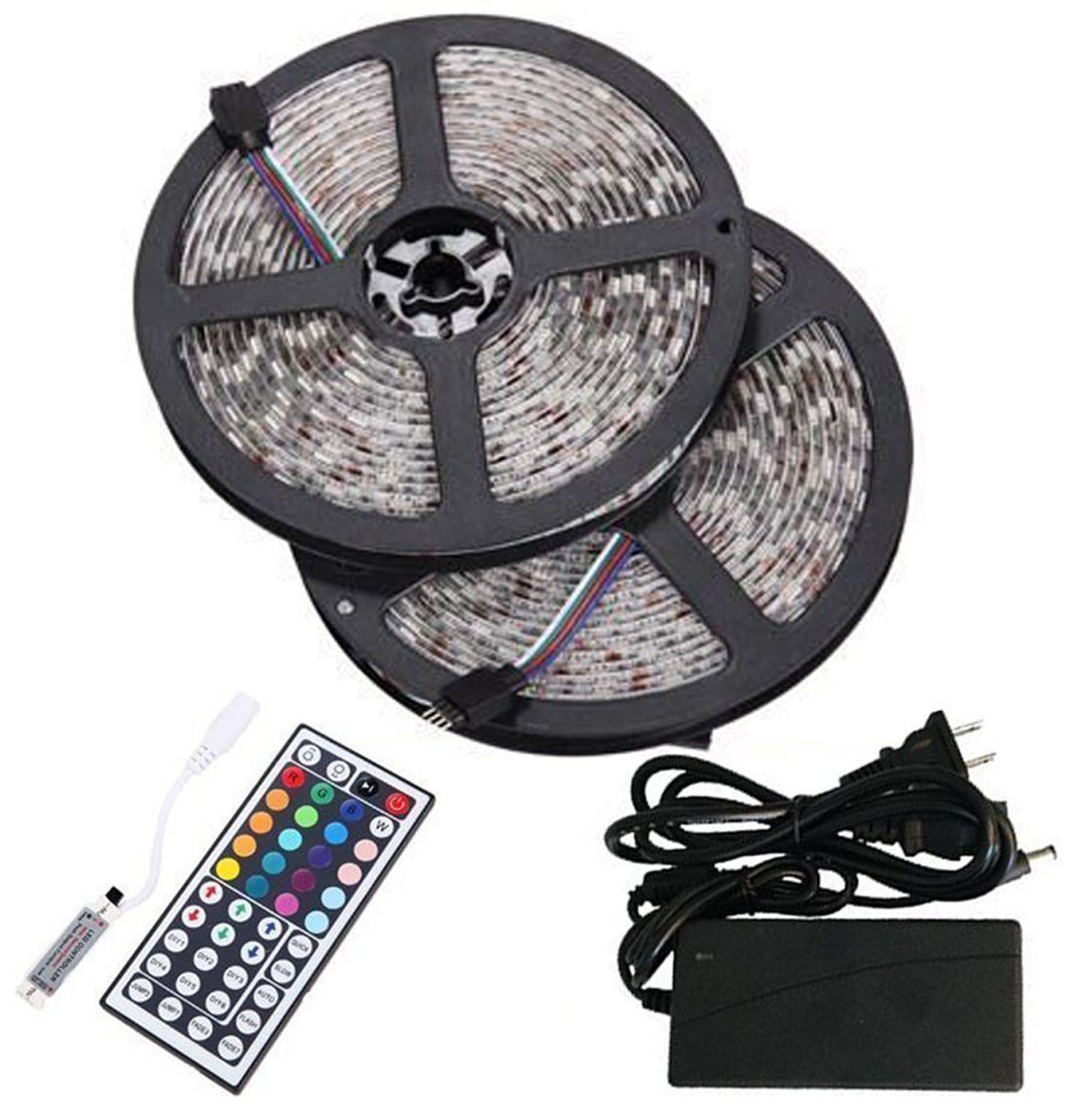 Bmouo 2 reels 12v 32 8ft waterproof flexible rgb led strip light kit multi colored smd5050 300 leds led strip kit mini 44 key ir controller 12v 5a