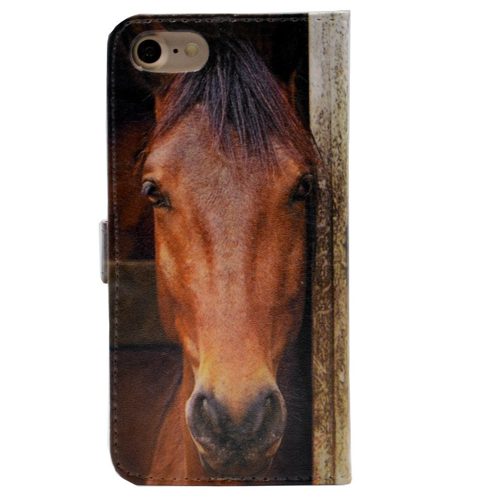 iphone 6S Case, Close-up Of Horse's Face Pattern Leather Wallet Credit Card Holder Pouch Flip Stand Case Cover For Apple iphone 6 6S