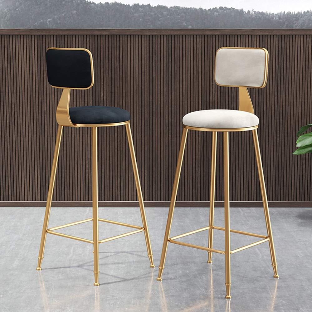 Set of 2 Light Blue Velvet Padded Seat Gold Metal Breakfast Kitchen Bar Stools