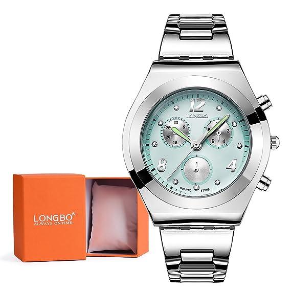 Longbo resistente al agua más vendido para mujer analógico vestido cuarzo reloj banda de acero inoxidable