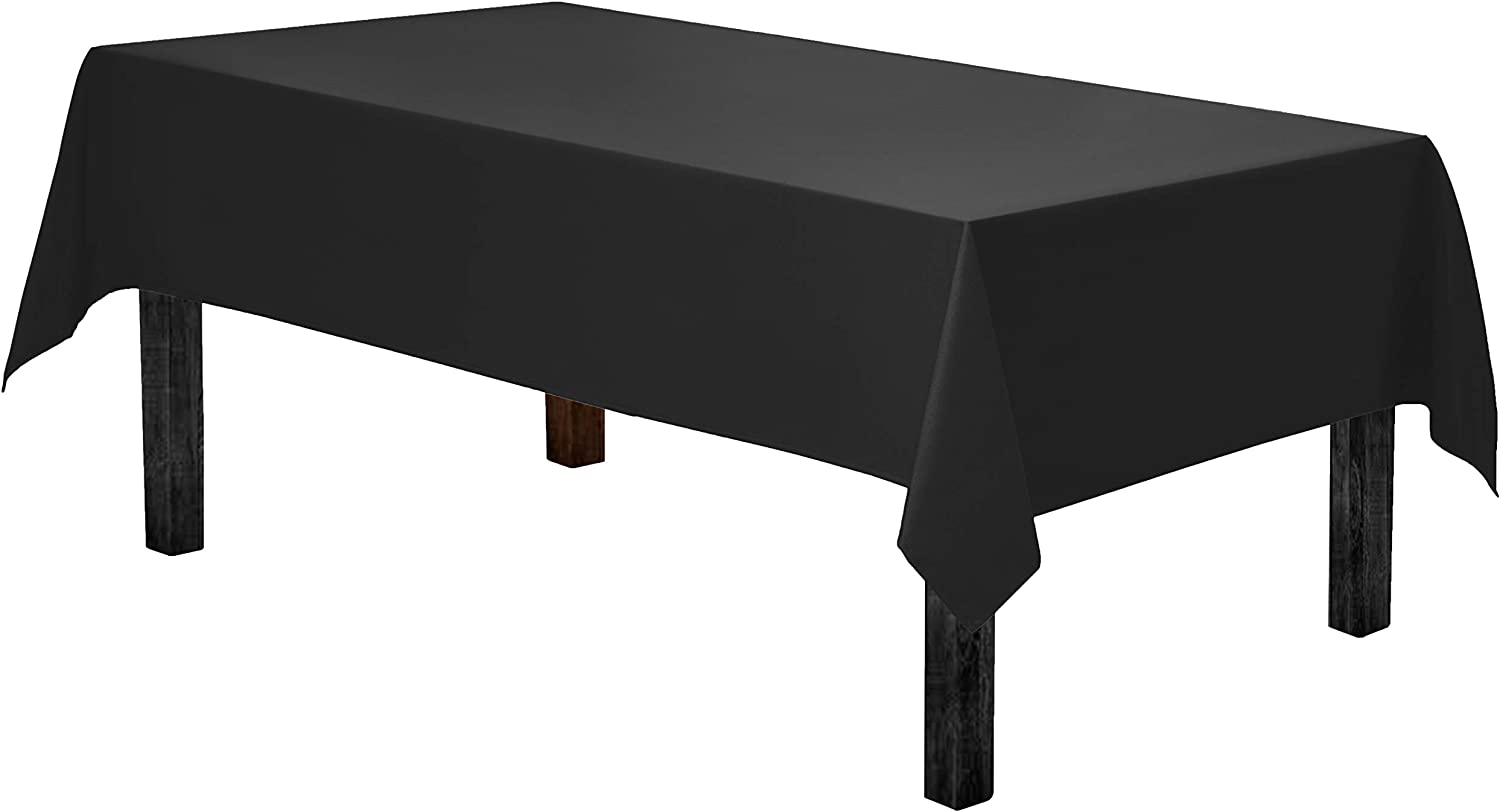 Gee Di Moda Rectangle Tablecloth - 60 x 84 Inch - Black Rectangular Table Cloth for 5 Foot Table in Washable Polyester - Great for Buffet Table, Parties, Holiday Dinner, Wedding & More