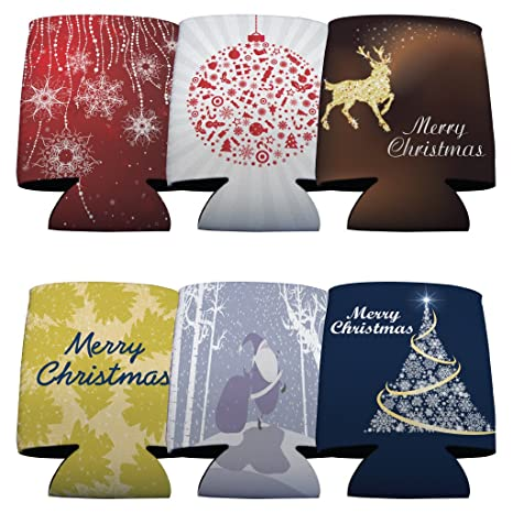 Christmas Koozies.Victorystore Can And Beverage Coolers Christmas Themed Set Of 6 Different Designs