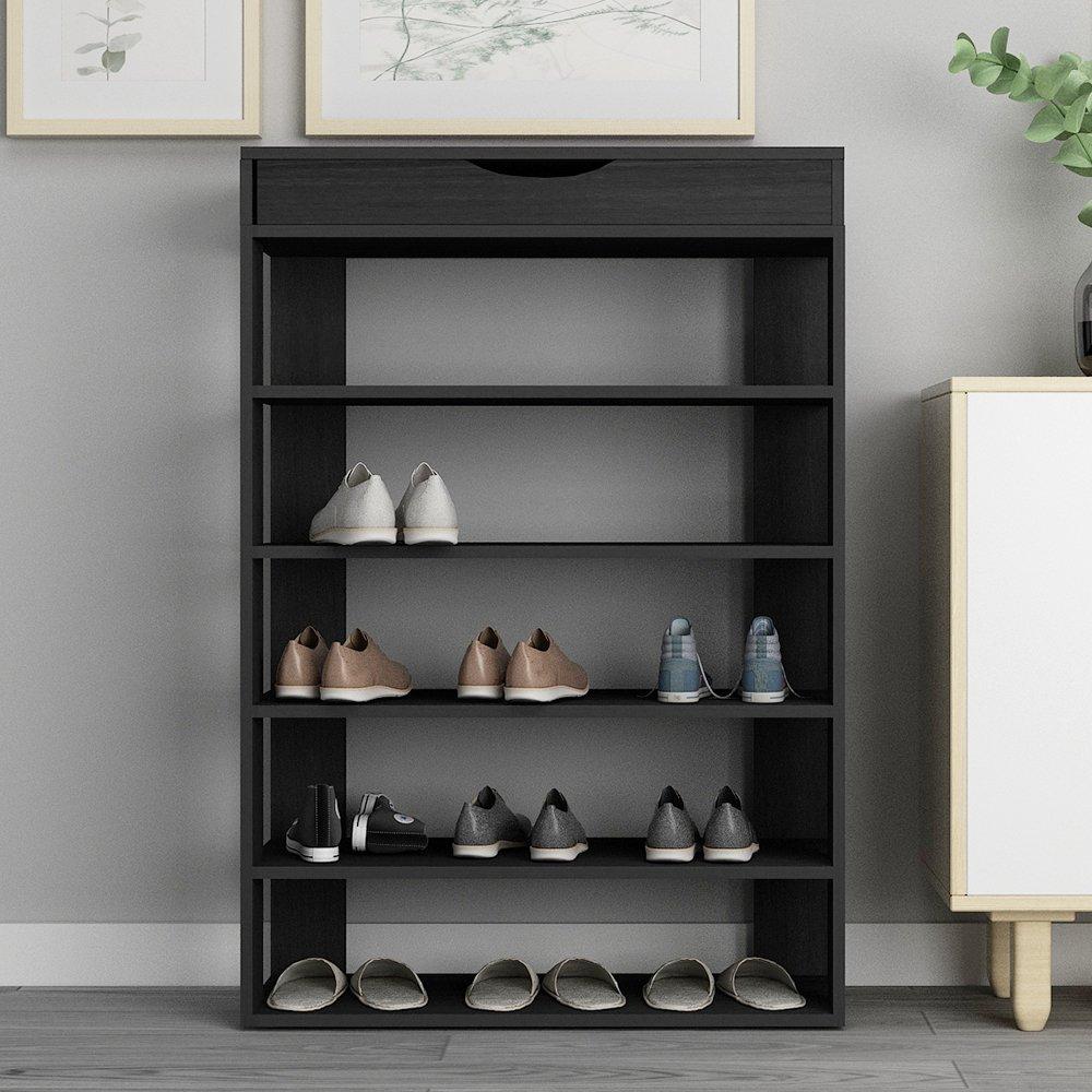 soges 29.5'' Shoe Rack 5 Tier Free Standing Wooden Shoe Storage Shelf Shoe Organizer, Black L24-H by soges (Image #7)