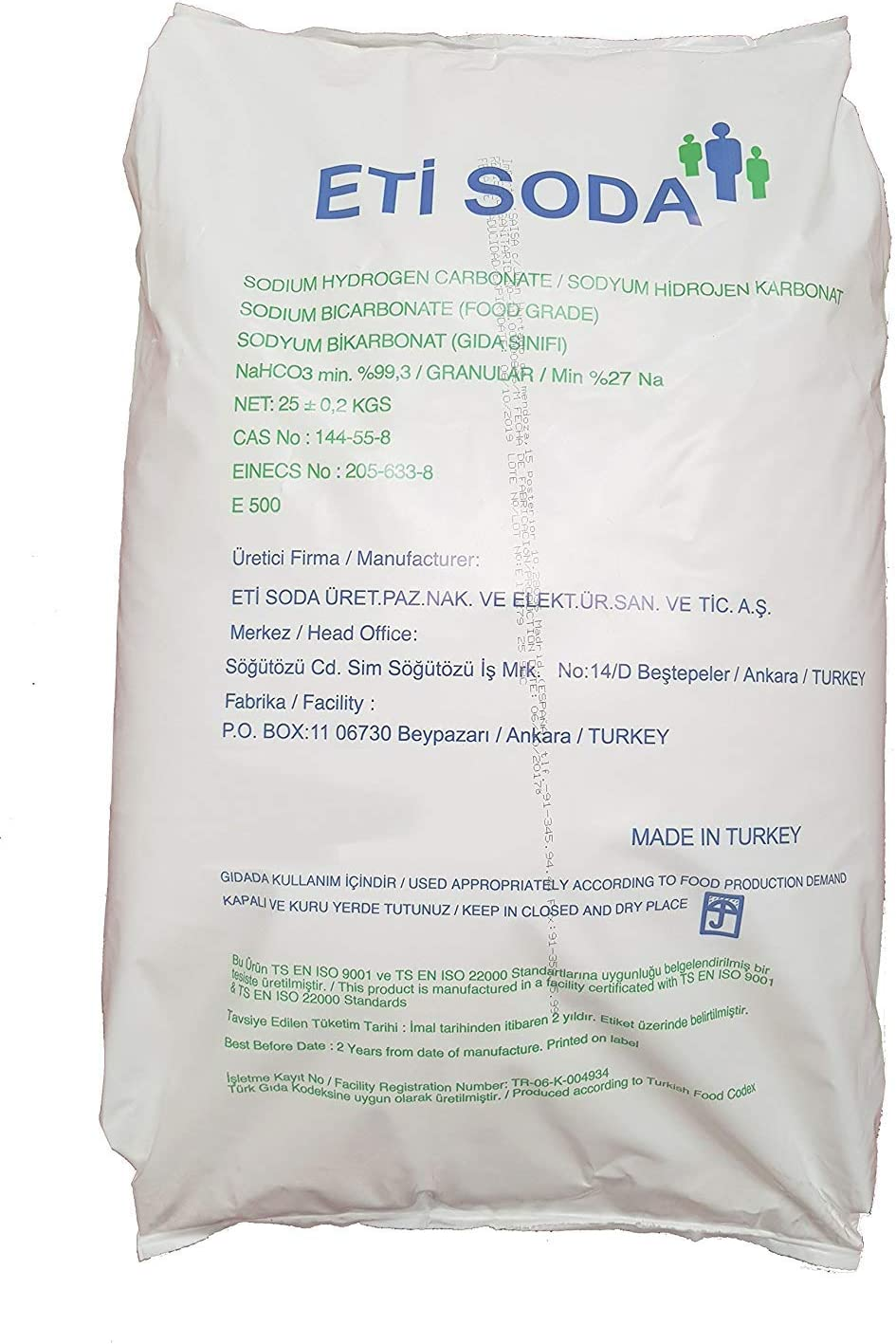 Bicarbonato de Sodio 25kg, Insumo Ecológico de Origen Natural, Producto CE. (25kg)