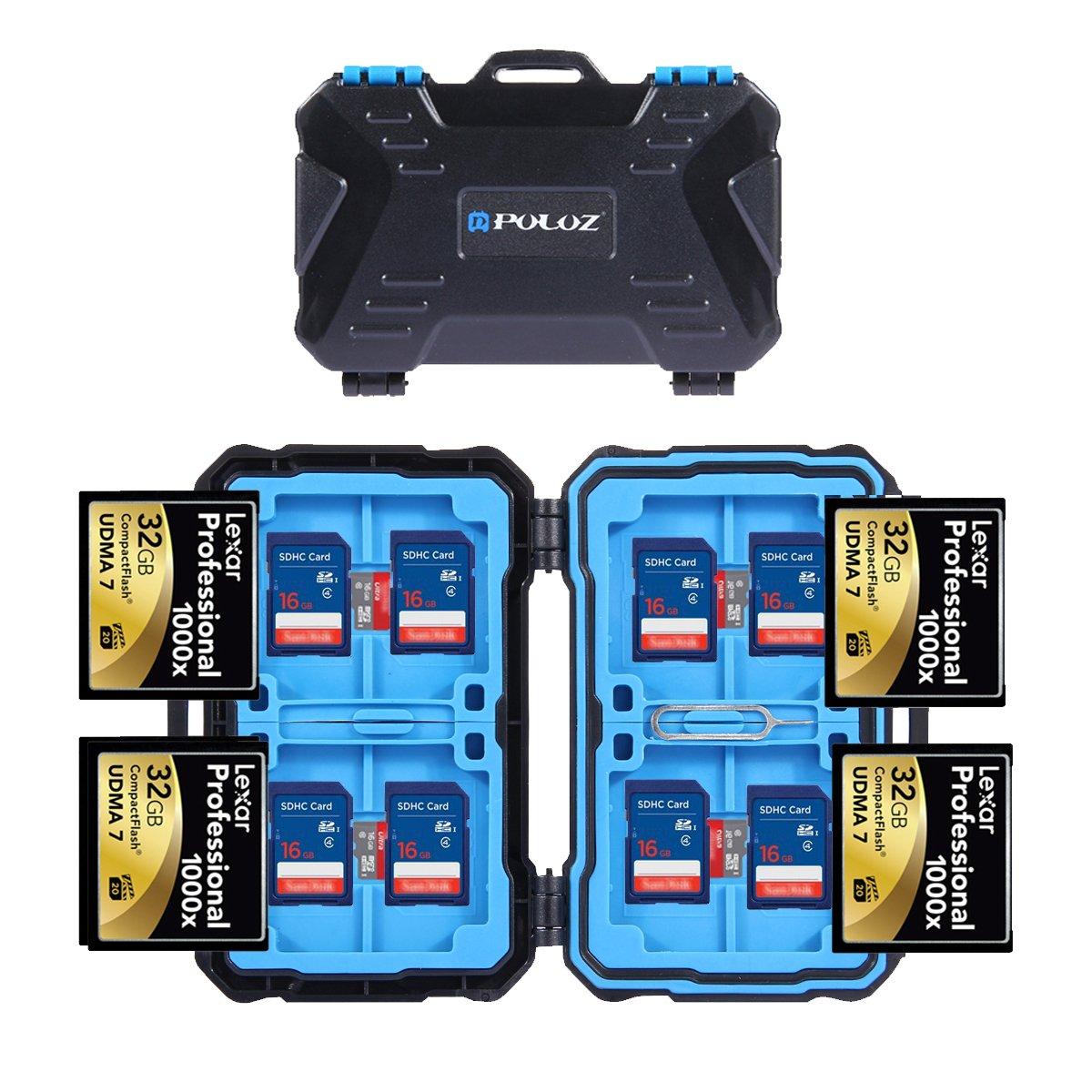 Puluz, astuccio impermeabile e antiurto per 24 schede di memoria e scheda SD con pin per carta per 4 CF + 8SD + 12TF o 2 MSD
