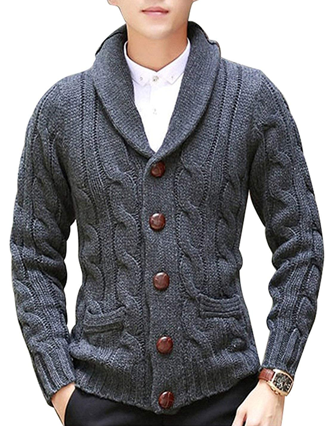 Mens Casual Slim Fit Sweaters with Zipper Cotton Knitted Cardigan