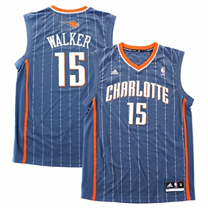 low priced 4771e 878db adidas Kemba Walker Charlotte Bobcats NBA Men's Grey Official Replica Jersey