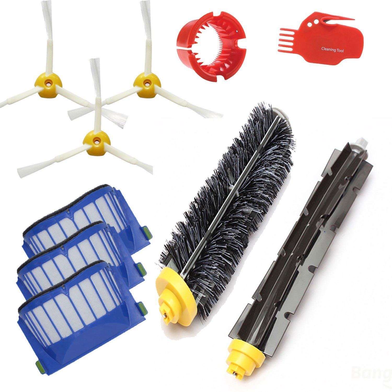 3x Robot Filter,3x Side Brush,2 Srew Beater Brush Kit Replacement for iRobot Roomba 600 Series 595 620 630 650 660,10 pcs/lot Fuerdi iro6