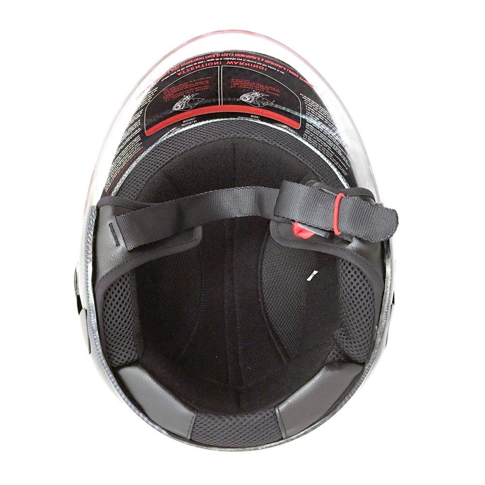 Motorcycle Powersports Open Face Helmet DOT Street Legal - FlipUp Clear Shield - Carbon Fiber (Size: XXL) by MMG (Image #4)