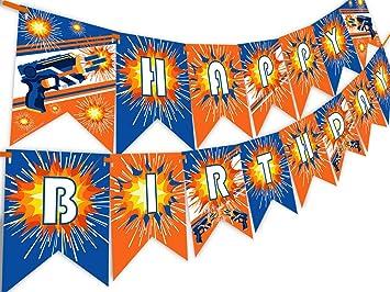 Amazon.com: Dart War Happy Birthday Banner Pennant: Toys & Games