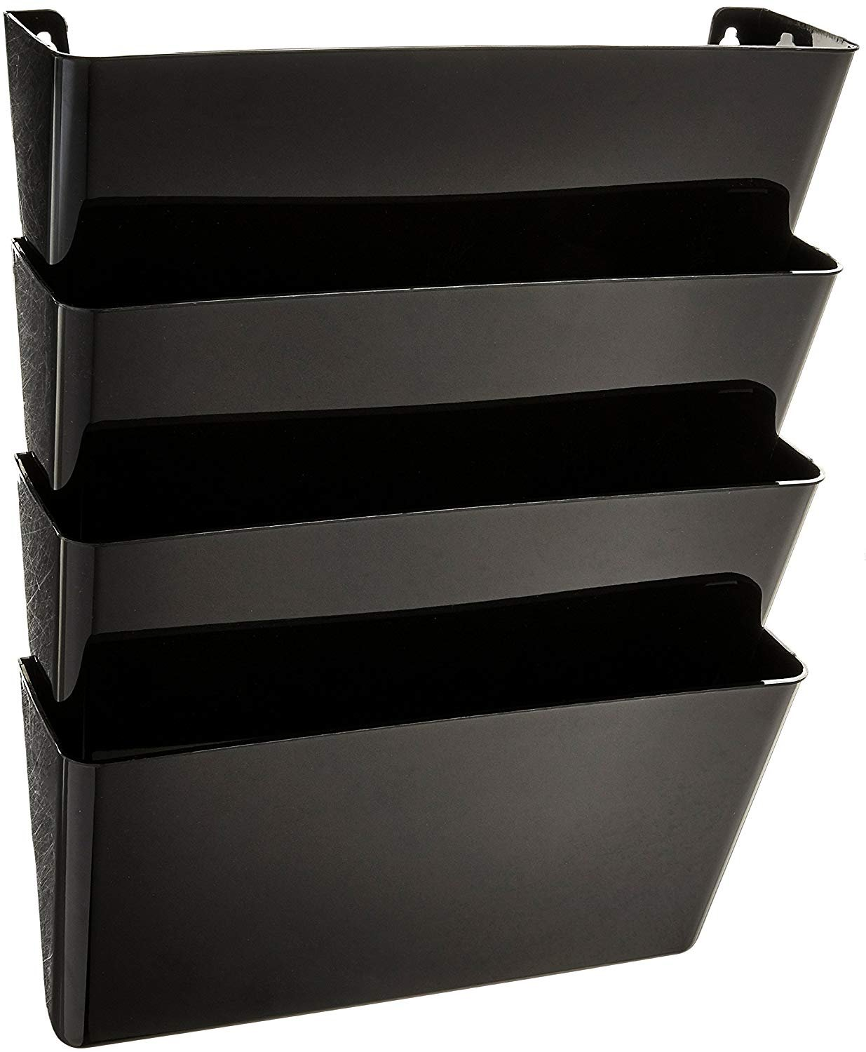 1InTheHome Expandable Wall file organizer, Black, Letter-Sized, 4 pocket