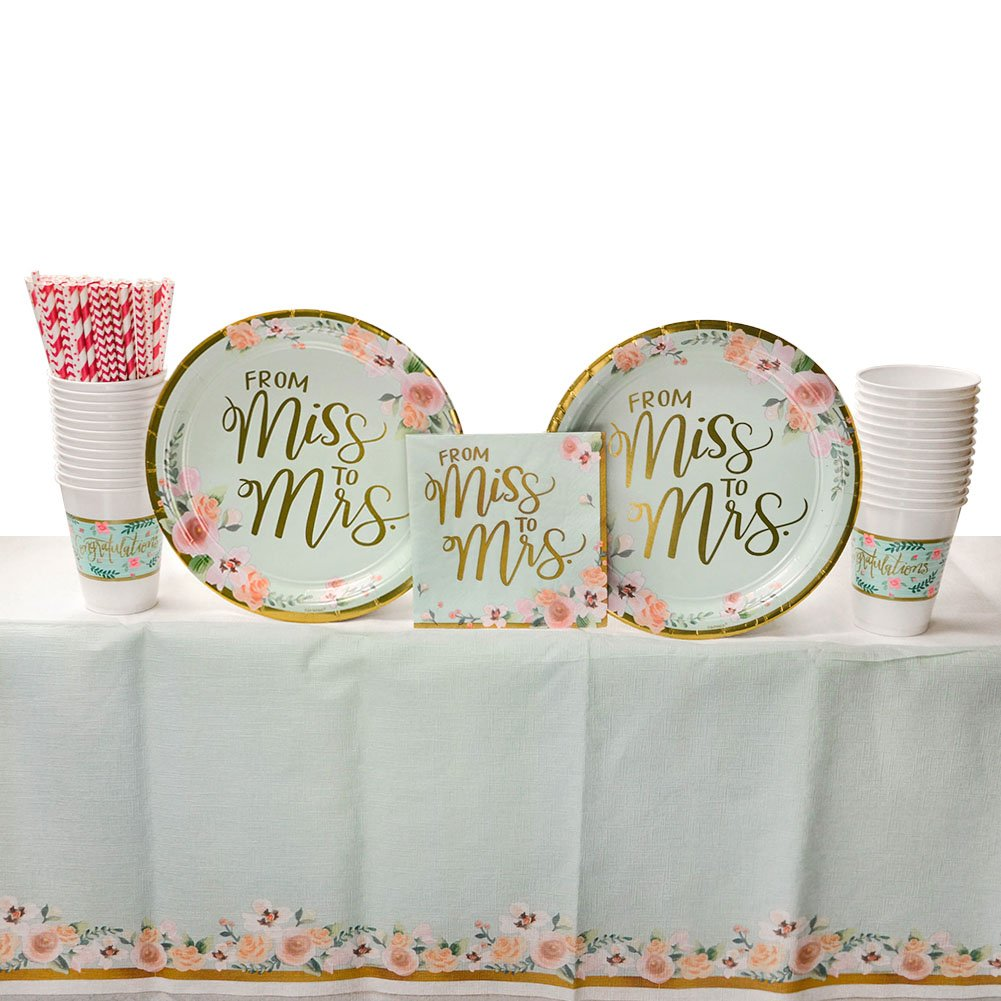 Lunch Napkins and Table Cover Straws Mint to Be Wedding Bridal Party Supplies Pack for 16 Guests Cups This Party Supplies Pack Is The Perfect Addition To Your Bridal Shower! Dinner Plates
