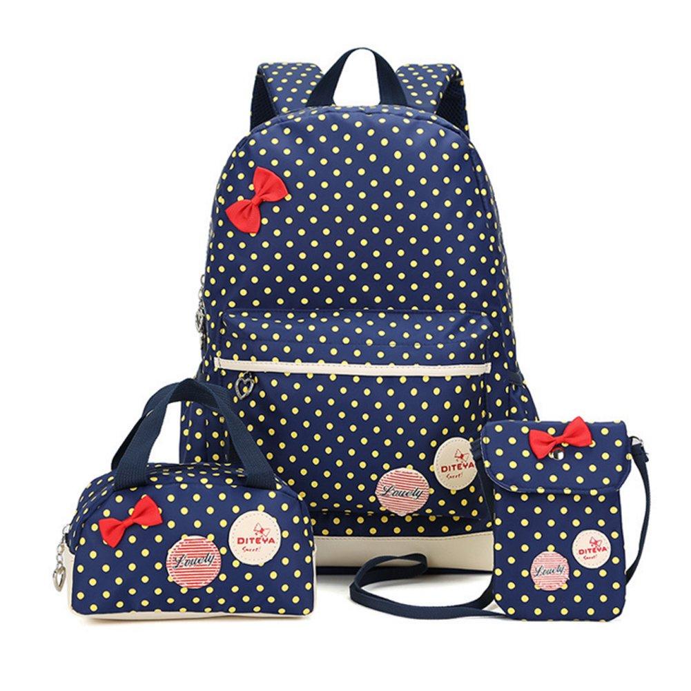 Bcony Conjunto de Dot lindo Las mochilas escolares universidad bolsas escolares mochila