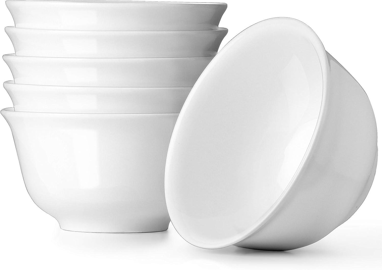 550 ml Juego de 6 cuencos de porcelana para servir ensalada Dowan rama y frutas color blanco