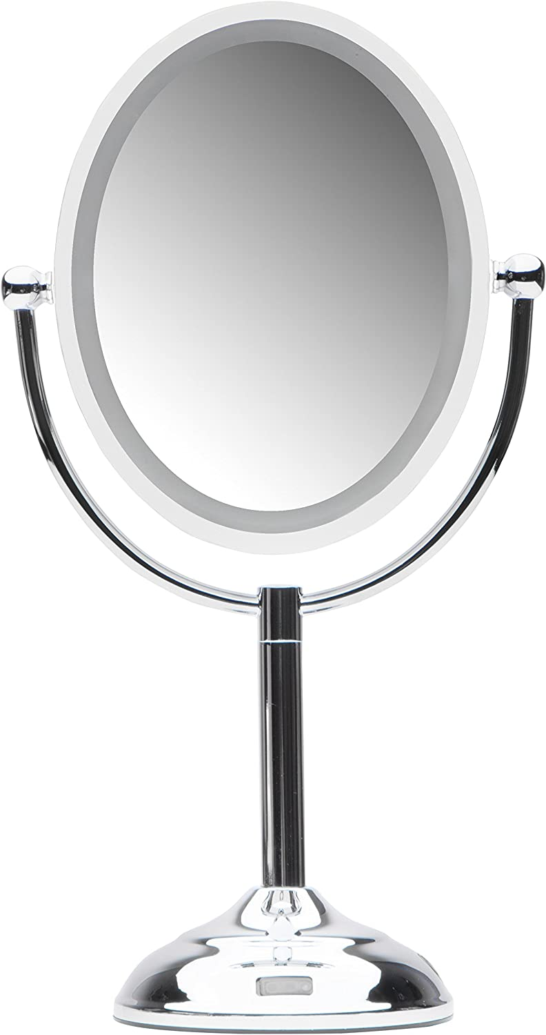 """Mirrorvana Motion Sensor LED Lighted Makeup Mirror ~ Double Sided 5x/1x Magnifying ~ AC Adapter or Battery Operated ~ 9"""" x 8"""" Oval Reflection, 16"""" Height"""