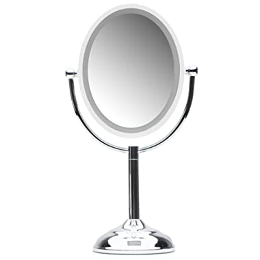 Mirrorvana Motion Sensor LED Lighted Makeup Mirror ~ Double Sided 5x/1x Magnifying ~ AC Adapter or Battery Operated ~ 9  x 8  Oval Reflection, 16  Height