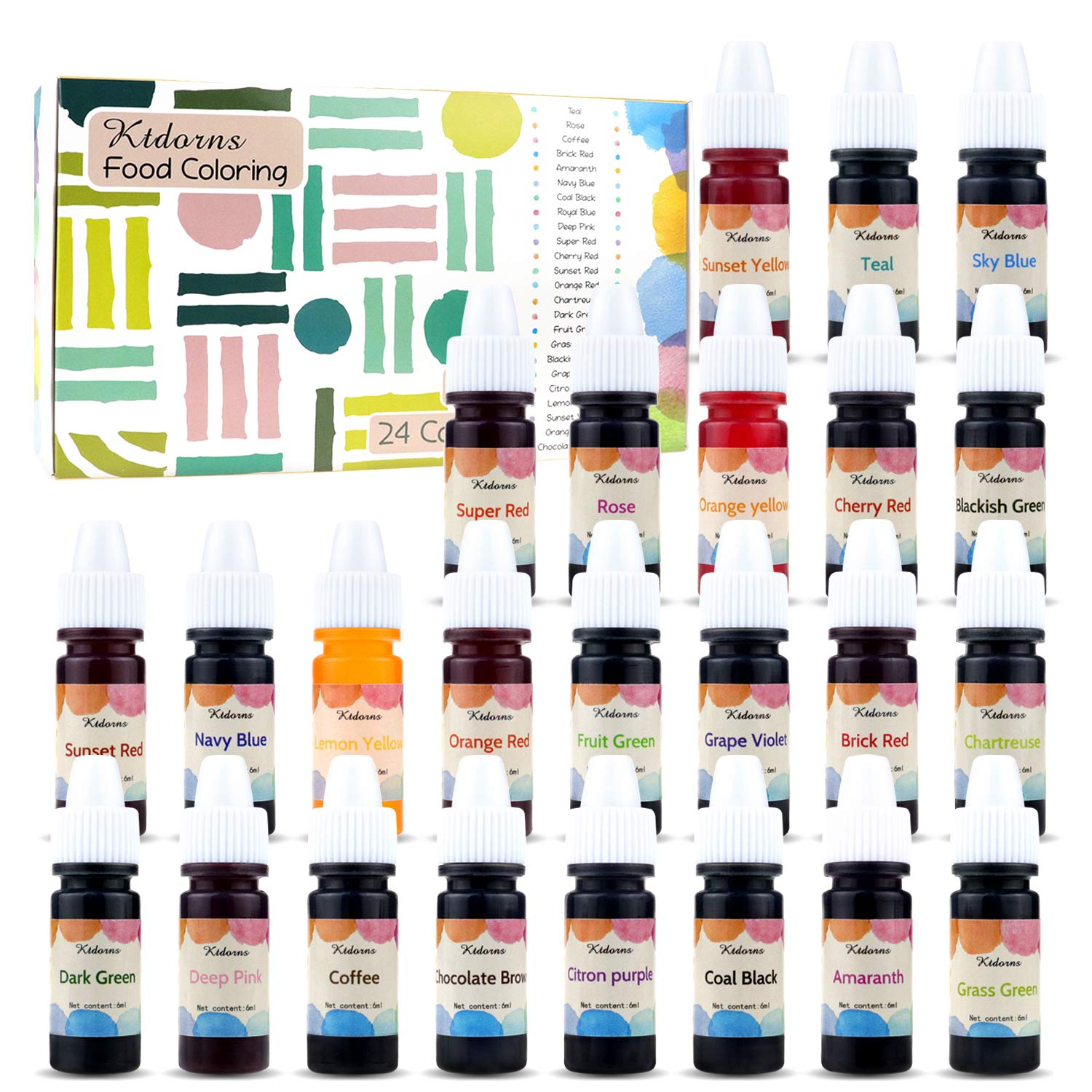 Food Coloring-24 Color Variety Kit-cake food coloring liquid Variety Kit for Food color Baking, Decorating,Fondant and Cooking, Slime Making Supplies Kit - .25 fl. oz. Bottles