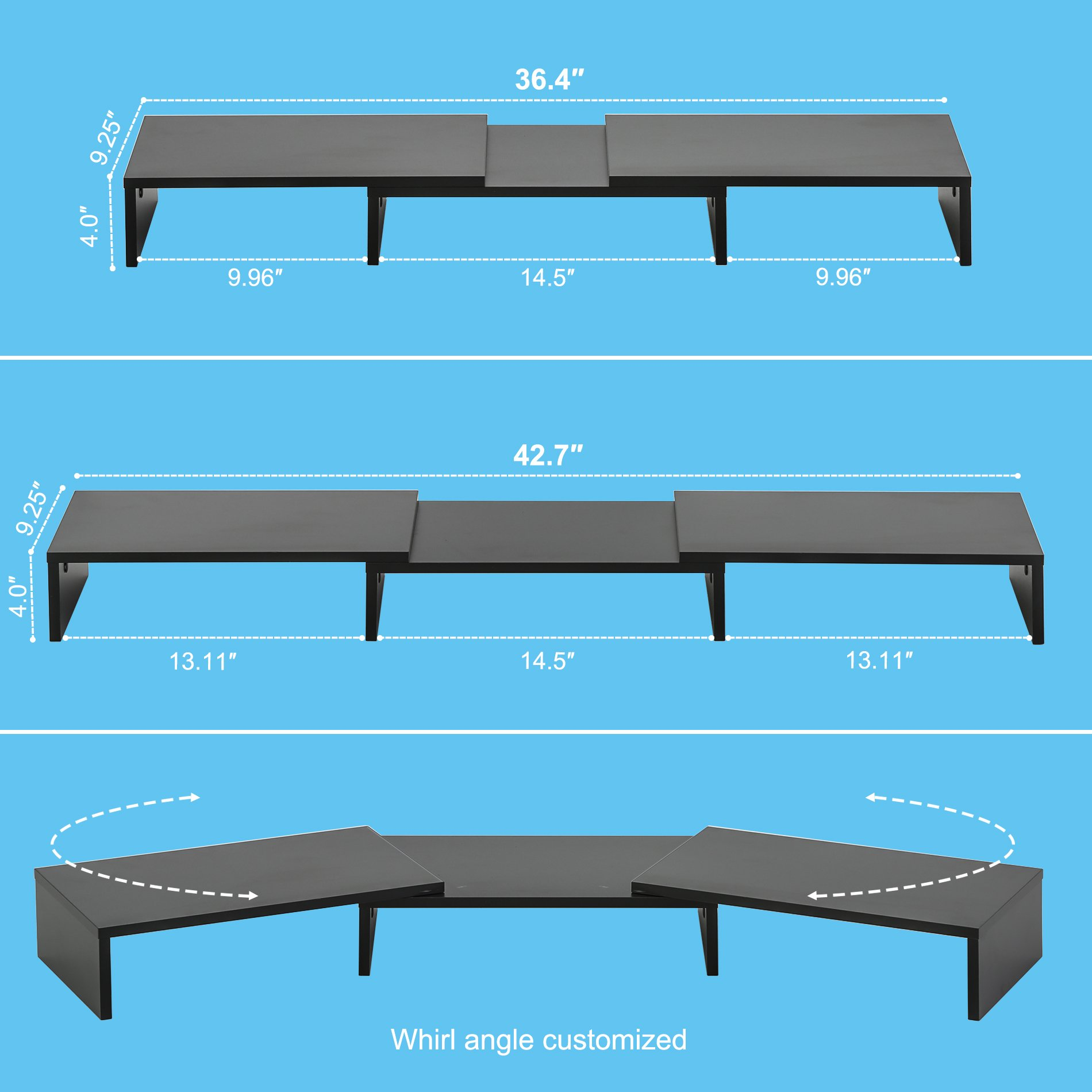 FITUEYES 3 Shelf Monitor Stand Riser with Adjustable Length and Angle,DT108001WB by FITUEYES (Image #3)