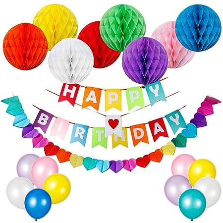 husdow feliz cumpleaños pancarta de cumpleaños decoraciones suministros, y 8pcs colorido juego de pelotas de papel en forma de panal, globos de ...