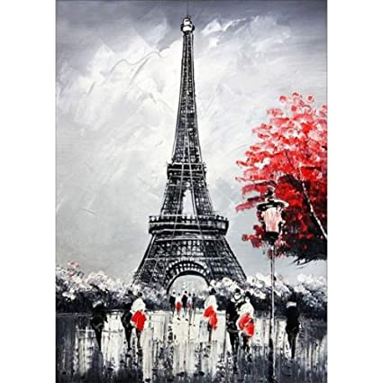 Amazon Com Fineser Diy 5d Eiffel Tower Diamond Embroidery Painting