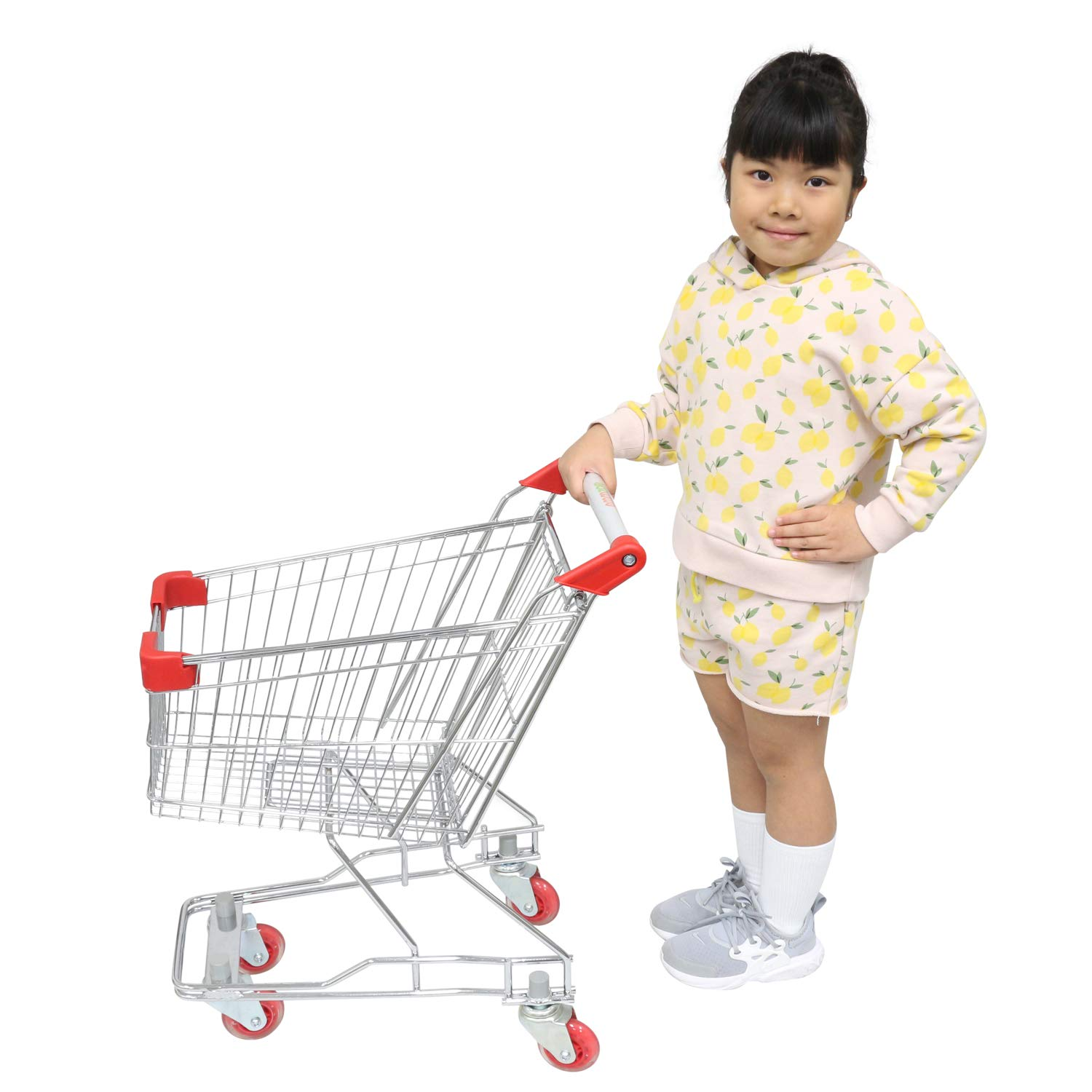 Emmzoe ''The Little Shopper'' Real Life Kids Mini Retail Grocery Shopping Cart Toy (Chrome Frame) by Emmzoe