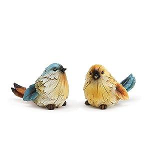 Napco Watchful Bird Sapphire, Goldenrod 5.25 x 3.25 Resin Tabletop Figurines, Set of 2