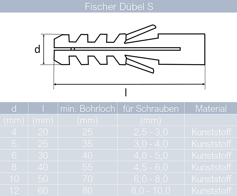 Nylond/übel Allzweckd/übel von MESAROS/® 10 St/ück Fischer/® D/übel S 4 mm   Spreizd/übel Universald/übel