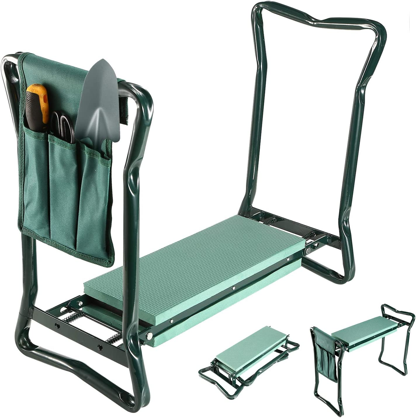 TeqHome Garden Kneeler and Seat Foldable Lightweight Garden Bench with Tool Pouch and Soft Kneeling Pad Portable Garden Stool