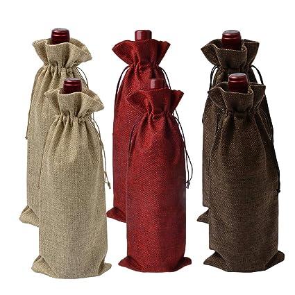 Bolsas de Vino de Yute, Bolsas de Regalo Ideales para Vino, 35 x 15cm Bolsas de Vino Hessian Wine Carriers con cordón 6 Piezas