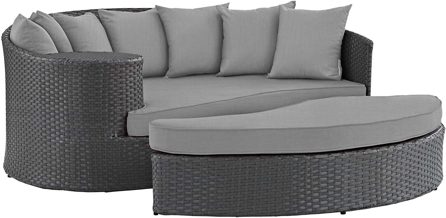 Modway EEI-1982-CHC-GRY Sojourn Wicker Rattan Outdoor Patio Sunbrella Fabric Sectional Sofa, Daybed, Canvas Gray