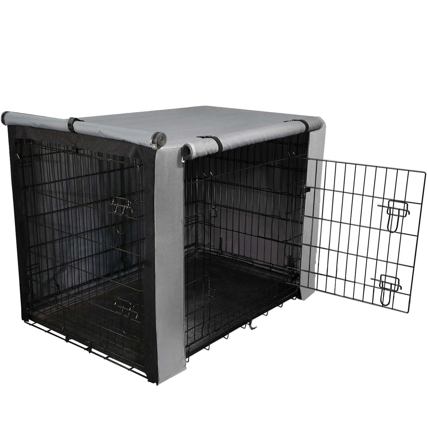 yotache Dog Crate Cover for 48'' Extra Large Double Door Wire Dog Cage, Lightweight 600D Polyester Indoor/Outdoor Durable Waterproof & Windproof Pet Kennel Covers, Gray