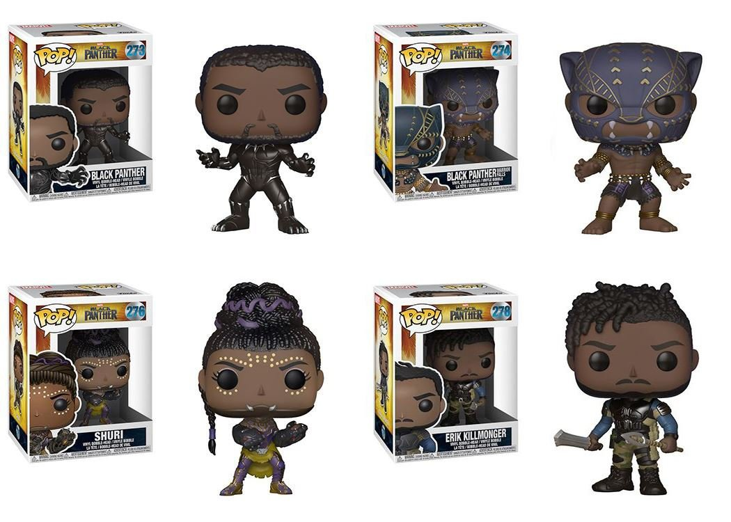 Funko  nero Panther  nero Panther + Warrior Falls nero Panther + Shuri + Erik Killmonger - Marvel Stylized Vinyl Bobble-Head Figure Bundle Set