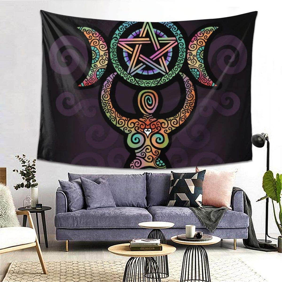 Idealism Wicca Wiccan Triple Moon Gaia Goddess Tapestry Wall Decor Hanging for Dorm Party Bedroom//Living Room Home Decorations Polyester 80W X 60L Inches