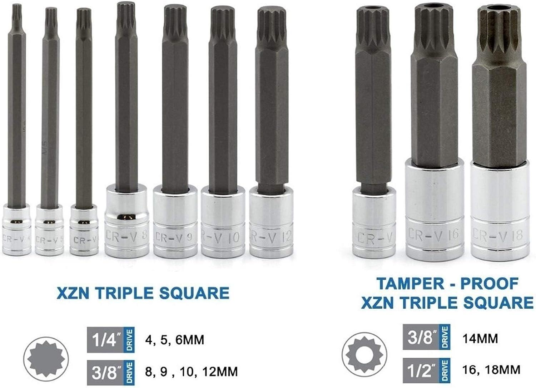 Coffret de Douilles /à Chocs ,10pcs 4 pouces Extra Long XZN Triple place Spline Bit Socket Set S2 Bits acier,
