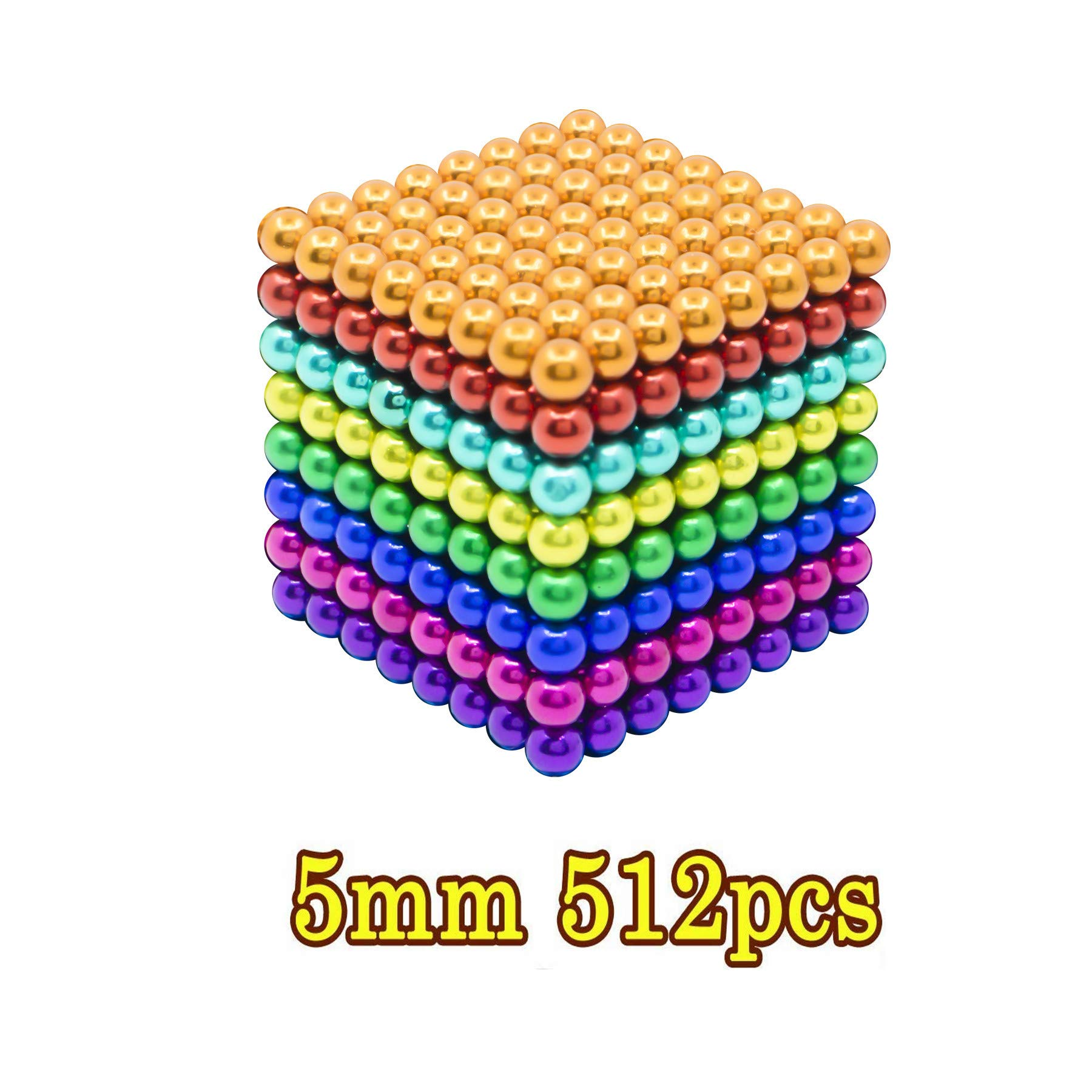 HBDeskToys Fidget Ball Puzzle,Cube Toys Sculpture Holders, Children's Puzzle Magic Cubes DIY Educational Toys for Intelligence & Stress Relief, 512Pcs,Colorful by HBDeskToys