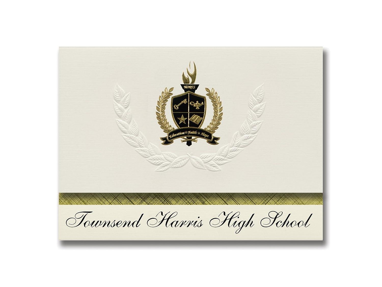 Signature Announcements Townsend Harris High School (Flushing, NY) Abschlussankündigungen, Präsidential-Stil, Grundpaket mit 25 Stück mit Goldfarbenen und schwarzen metallischen Folienversiegelungen