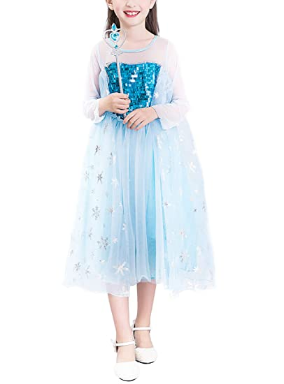 YOSICIL Disfraz de Frozen niña Vestido de Princesa Elsa con Capa ...