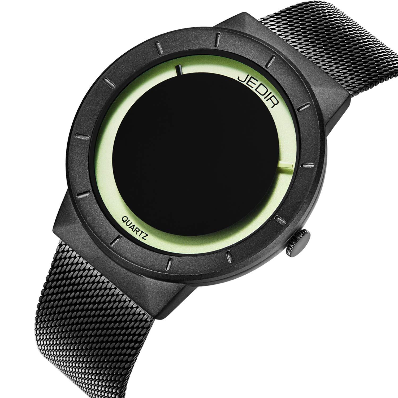 JEDIR Men Watches Unisex Classic Quartz Watch Fashion Analog Dial Black Round Case Stainless Steel Milanese Mesh Strap (Black)