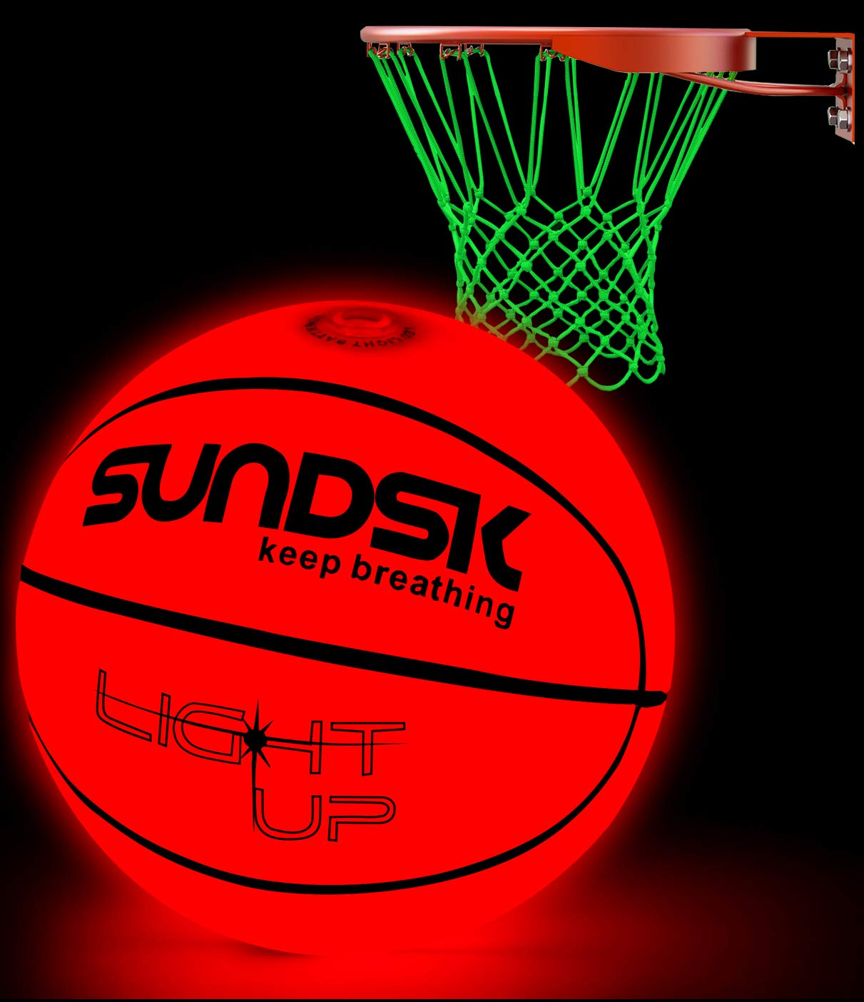 SCIONE Light Up Basketball Hoop Kit with LED Outdoor Basketball and Glow in The Dark Basketball Net Size 5 7- Official Size & Weight - Night Basketball Sports