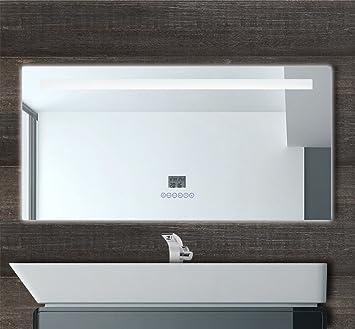 Esun Europe GmbH Multimédia LED 120 Cm Miroir De Salle De Bain Avec  éclairage LED + Horloge + Radio ...